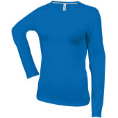 Dames t-shirt ronde hals lange mouwen light royal blue s
