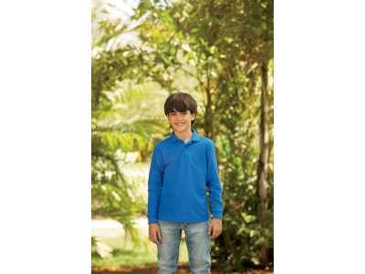 65/35 kids' long sleeve polo shirt