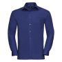 Men L/S Pure Cotton Poplin Shirt, Aztec Blue, S, RUS