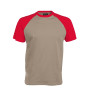 BASE BALL > T-SHIRT BICOLORE MANCHES COURTES light grey / red L