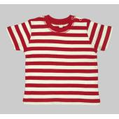 Baby Stripy T, Red/Washed White, 3-6mnd, MTS