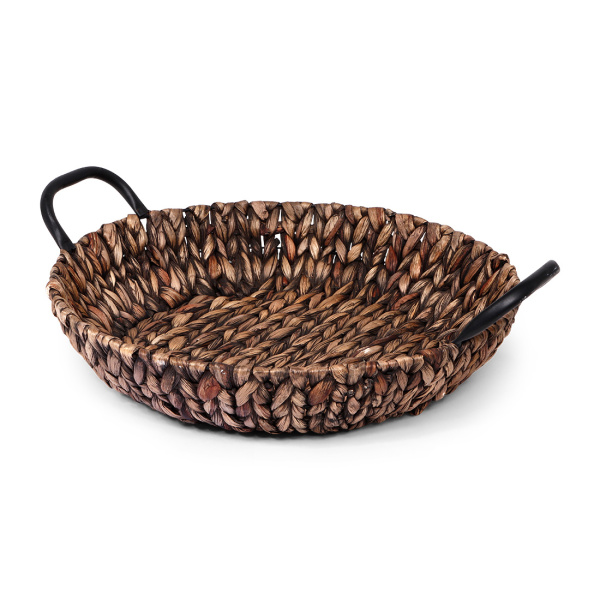 SENZA Hyacinth Shallow Basket with handles Dark brown