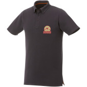 Atkinson button-down heren polo met korte mouwen - Storm grey - L