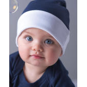Baby Reversible Hat - White/Nautical Navy