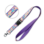 Polyester lanyard with sublimated satin overlay and detachable buckle