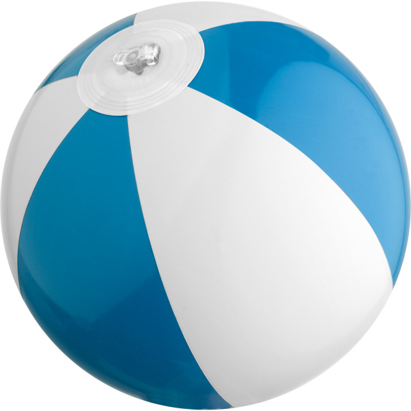 Bicoloured mini beach ball with 21.5 cm segments.