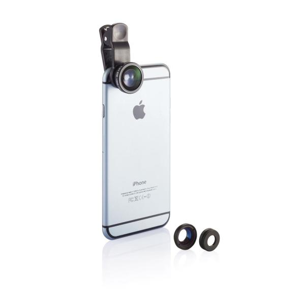 3 pcs mobile device lens set, black