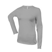 Dames t-shirt ronde hals lange mouwen oxford grey m
