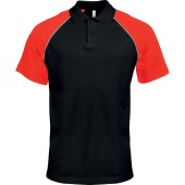 Baseballpolo black / red 'l
