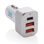 30W Fast car charger triple output with PD, white