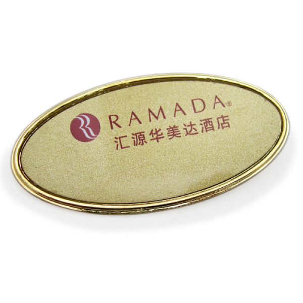 Gold Oval Name Badges 72x35mm