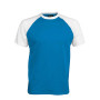 BASE BALL > T-SHIRT BICOLORE MANCHES COURTES aqua blue / white XL