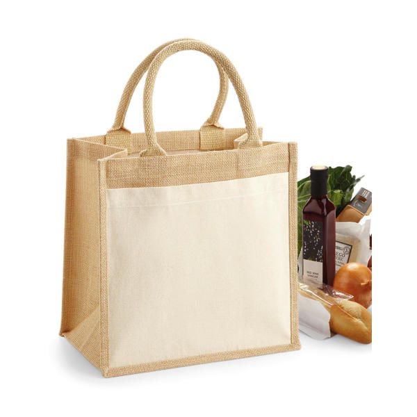 Cotton Pocket Jute Midi Tote