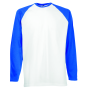 Valueweight L/S Baseball T , White/Royal Blue, S, FOL