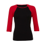 3/4-Sleeve Contrast Raglan T-Shirt S Black/Red