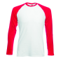 Valueweight L/S Baseball T , White/Red, S, FOL