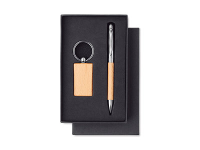 PEN & RING - Wooden set keyring and ball pen