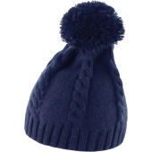 Cable knit pom pom beanie navy one size