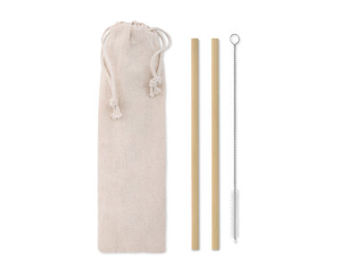 NATURAL STRAW - Bamboo Straw w/brush in pouch