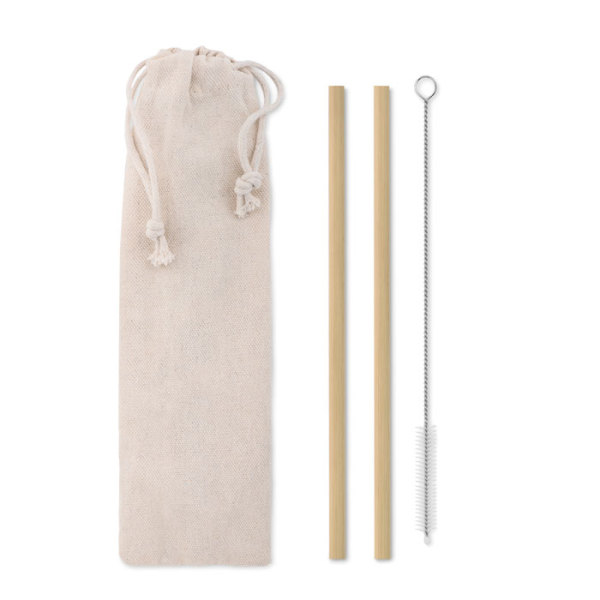 NATURAL STRAW - Bamboo rietjes en borstel set