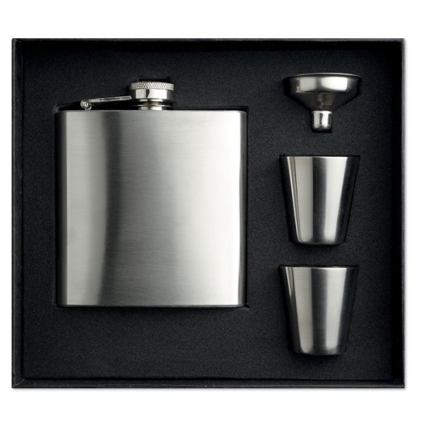 SLIMMY FLASK SET - Slim hip flask w 2 cups set