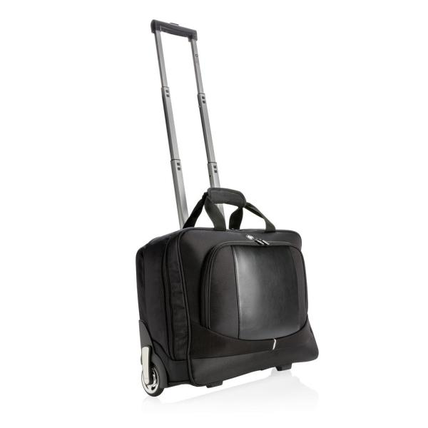 Bedrukte Swiss Peak business trolley, zwart