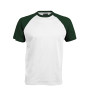 BASE BALL > T-SHIRT BICOLORE MANCHES COURTES white / forest green S