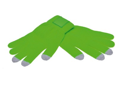 Touchscreen gloves met label