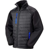 Black compass padded soft shell jacket black / royal blue s