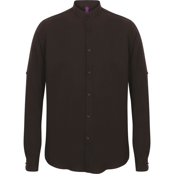Men's mandarin shirt with roll-tab sleeve