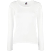 Lady-fit valueweight long sleeve t (61-404-0) white xs