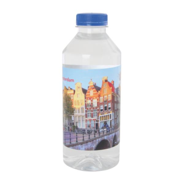 Ronde waterfles 330 ml met platte dop