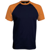 Baseball - tweekleurig t-shirt navy / orange l