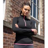 AWDis Ladies Cool Half Zip Sweat Top, Charcoal/Jet Black, L, Just Cool