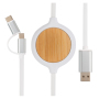 3-in-1 cable with 5W bamboo wireless charger, white