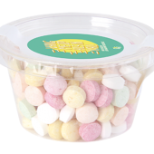 Transparant Biodegradable bakje met los deksel, gevuld met 60 gr. DutchDex Dextrose mints, fruit bolletjes of fruit hartjes