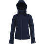 Dames afneembare hooded softshell jas navy l