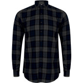 Men's brushed back check casual shirt with button-down collar