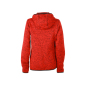Ladies' Knitted Fleece Hoody - rood-melange/zwart