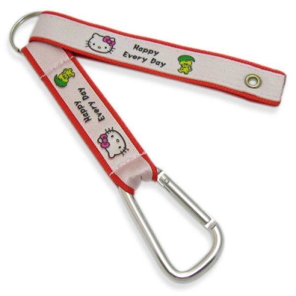 6CM Carabiner Hooks with Satin Label Stitched Short Strap
