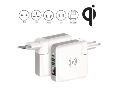 Wireless charging power bank with travel adaptor