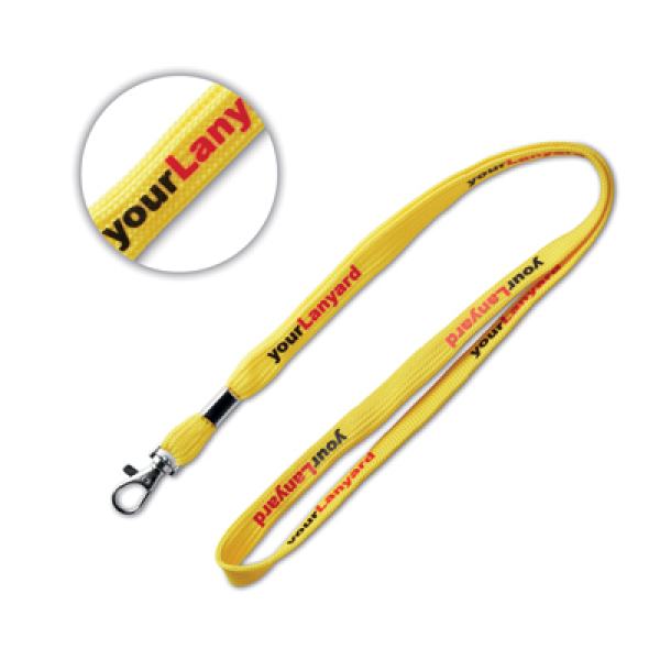 Tubular lanyard with metal clamp