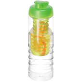 H2O Treble 750 ml drinkfles en infuser met kanteldeksel - Transparant/Lime