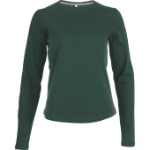 Dames t-shirt ronde hals lange mouwen forest green 3xl