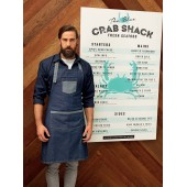 Domain - contrast denim bib apron