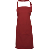 Colours bib apron with pocket burgundy one size